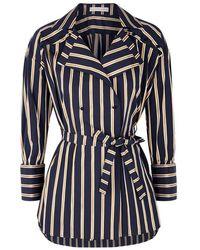 Palmer//Harding - Navy Striped Stretch Cotton Jacket - Lyst