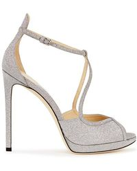 Jimmy Choo - Fawne Silver Glittered Leather Sandals - Lyst