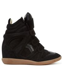Isabel Marant - Bekket Suede and Leather Wedge Trainers - Lyst