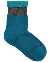 Pierre Mantoux - Green Ruffle-trimmed Cotton Blend Socks - Size 3/4 - Lyst