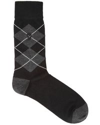 Alexander McQueen - Black Argyle Wool-blend Socks - Lyst