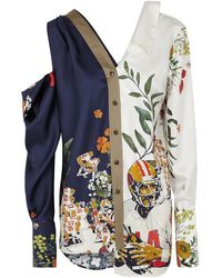 Monse - Printed Open-shoulder Silk Twill Shirt - Lyst
