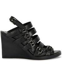 Ann Demeulemeester - Black Leather Wedge Sandals - Lyst