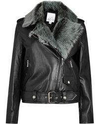 La Bête - Moto Black Shearling And Leather Jacket - Lyst