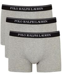 Polo Ralph Lauren - Grey Stretch Cotton Boxer Briefs - Set Of Three - Size L - Lyst