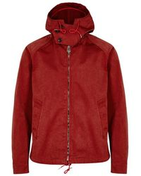 C P Company - Red Hooded Coated Nylon Jacket - Lyst