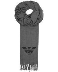 Emporio Armani - Grey Logo Twill Scarf - Lyst