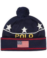 Polo Ralph Lauren - Navy Intarsia Wool Beanie - Lyst