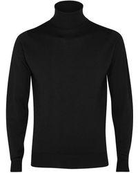 John Smedley - Cherwell Black Merino Wool Jumper - Size L - Lyst