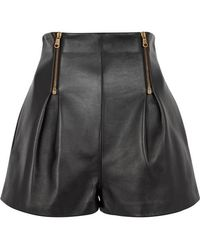 Versace - Black High-waisted Leather Shorts - Lyst