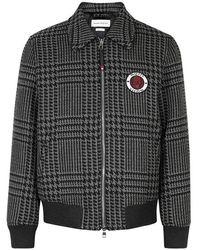 Alexander McQueen Houndstooth Wool Bomber Jacket - Gray