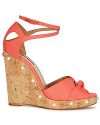 Aquazzura - Harlow Coral Grosgrain Wedge Sandals - Lyst