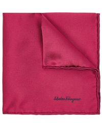 Ferragamo - Claret Silk Twill Pocket Square - Lyst