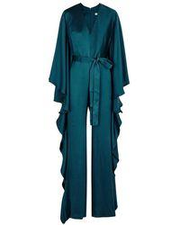 Safiyaa - Teal Hammered Silk Jumpsuit - Lyst