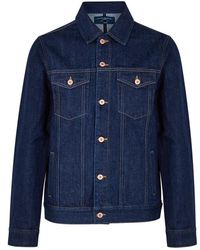5f65590f82 Rrl Type 2 Washed Selvedge Denim Jacket in Blue for Men - Lyst