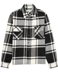 Off-White c/o Virgil Abloh - Printed Checked Cotton-blend Flannel Overshirt - Lyst
