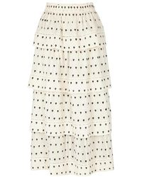 LoveShackFancy - Claire Embroidered Cotton Midi Skirt - Lyst