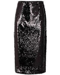 MILLY - Jamie Black Sequinned Pencil Skirt - Lyst