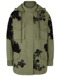 Alice + Olivia - Meta Olive Lace-insert Cotton Parka - Lyst