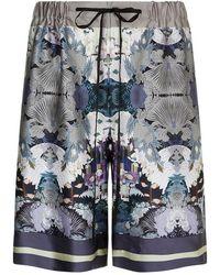 Meng - Printed Long Silk Satin Shorts... - Lyst