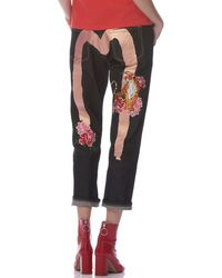 Evisu - Daicock Print Boyfriend Jeans With Floral And Nue Embroidery - Lyst