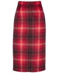 N°21 - Red Plaid Flannel Pencil Skirt - Lyst