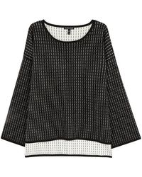 Eileen Fisher - Black Striped Stretch-knit Jumper - Lyst