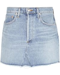 Agolde - Quinn Blue Denim Mini Skirt - Lyst