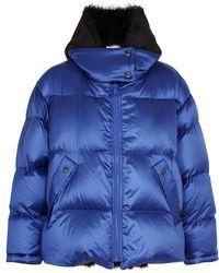 Yves Salomon - Metallic Blue Shearling-lined Shell Jacket - Lyst