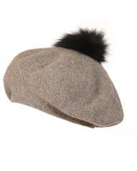 f350177fcb2 Popski London - Bella Beret Fur Pom Pom Hat In Charcoal Grey - Lyst · Popski  London - Bella Beret Fur Pom Pom Hat Black With Silver Fox ...