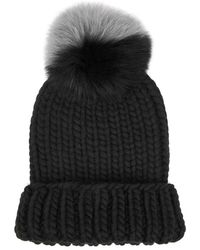 d25ac98185fa5 Eugenia Kim Hadley Black Fur Pompom Wool Beret in Black - Lyst