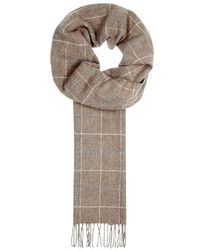 Eton of Sweden - Taupe Checked Wool Scarf - Lyst