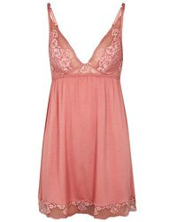 Eberjey - Noor Lace-trimmed Jersey Chemise - Lyst