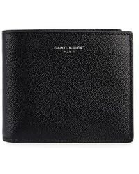 Saint Laurent - Black Grained Leather Wallet - Lyst