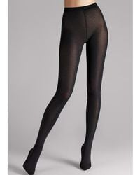 Wolford - Black Cotton Blend Velvet Tights - Size L - Lyst