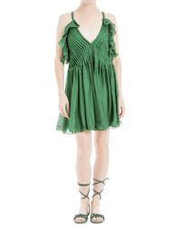 Leon Max - Silk Mesh Chiffon Dress - Lyst
