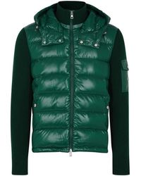 Moncler - Green Wool And Shell Jacket - Lyst