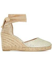Castaner - Carina 90 Gold Canvas Espadrille Court Shoes - Lyst