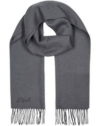COACH - Grey Embroidered Wool Blend Scarf - Lyst