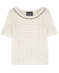 Boutique Moschino - Ecru Chain-embellished Lace Top - Lyst