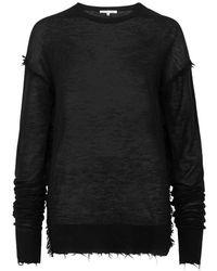 Helmut Lang - Black Frayed Fine-knit Cashmere Jumper - Lyst