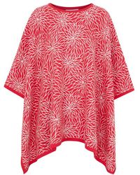 Alice By Temperley - Pink And Cream Floral Intarsia Poncho - Lyst