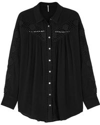 Free People - Katie Bird Black Crochet-insert Shirt - Lyst