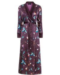 Meng - Burgundy Silk Satin Robe - Lyst