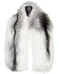 Lilly E Violetta - Arabella White And Grey Fox Fur Scarf - Lyst
