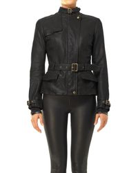 Max Studio - Belted Leather Jacket - Lyst