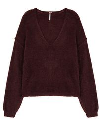 Free People - Princess Burgundy Textured-knit Jumper - Lyst