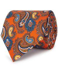 Eton of Sweden - Orange Paisley-jacquard Silk Tie - Lyst