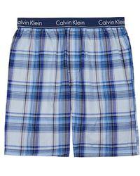 Calvin Klein - Blue Checked Cotton Pyjama Shorts - Lyst
