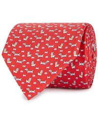 Ferragamo - Red Dog-print Silk Twill Tie - Lyst